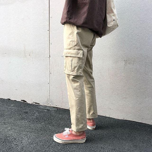 【NoComment】日系街頭潮流 休閒簡約 百搭抽繩口袋工作長褲 三色 uniqlo h&m