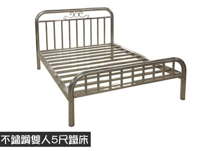 不鏽鋼雙人鐵床 保用十年以上  加高床底 非一般網架易塌陷 床底收納空間大 可承重300kg雙人