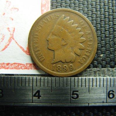 【錢幣鈔】1899年 美國印地安銅幣 ONE CENT (原味老包漿)
