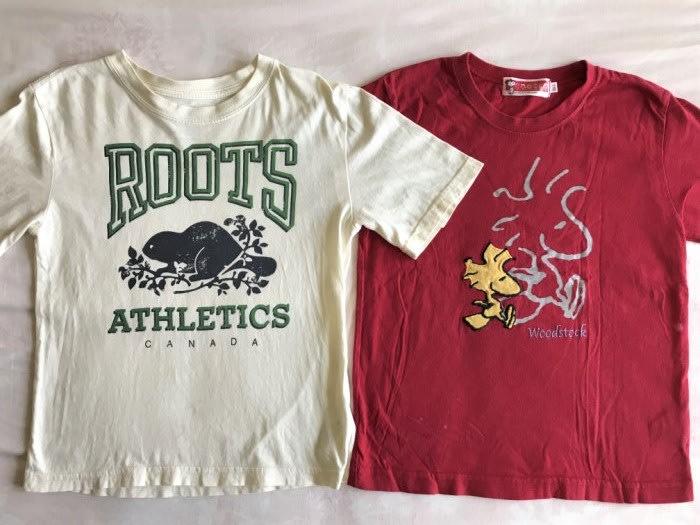 專櫃購買加拿大 Roots 短袖上衣M+百事特儀大 Snoopy 可愛貼布T-shirt-110cm-兩件一起一元起標