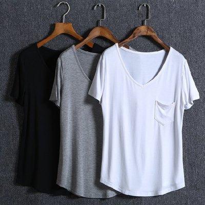 【Q比花園】C歐美纯色V領寬鬆莫代爾T恤  S-4XL
