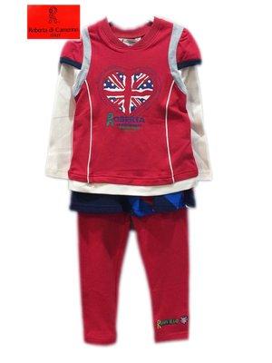 諾貝達童裝專櫃【特價秋冬】全新紅色假二件式上衣+俏麗裙褲裝95,105公分