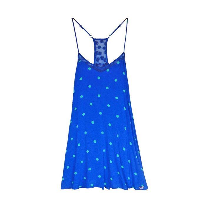 【HOLLISTER Co.】【HCO】HC女款洋裝綠點網細肩寶藍 F04150527-01