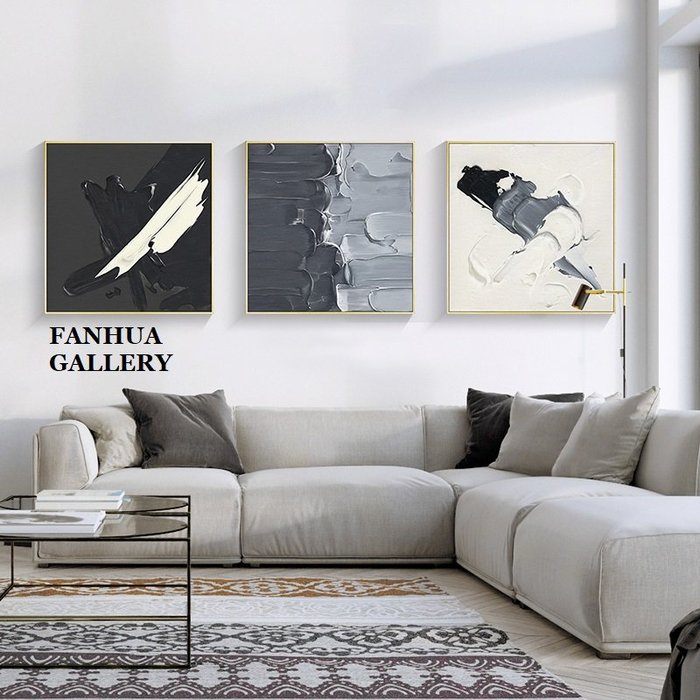 C - R - A - Z - Y - T - O - W - N 極簡黑白灰抽象油畫裝飾畫客廳沙發背景臥室辦公室掛畫