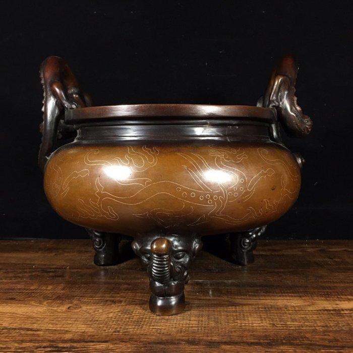 尋古苑 純紫銅掐銀絲龍耳香爐 古董古玩S108-4093