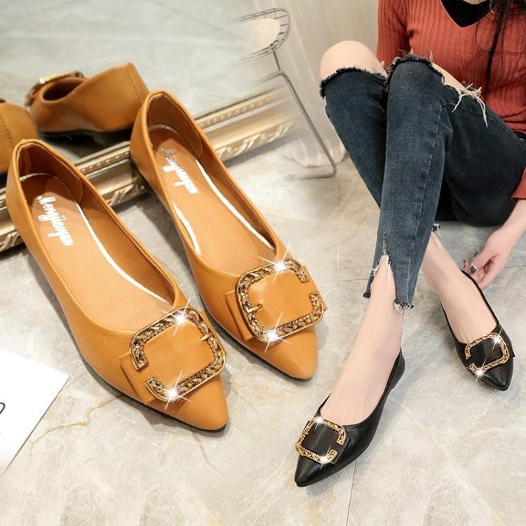 韓版女式單鞋懶人鞋女平底淺口尖頭金屬裝飾時尚簡約一腳蹬 伊衫风尚
