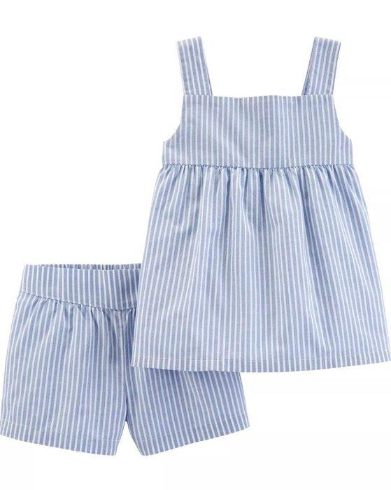 【Carter's】CS女童藍白條背+短褲二件組 F03190830-03