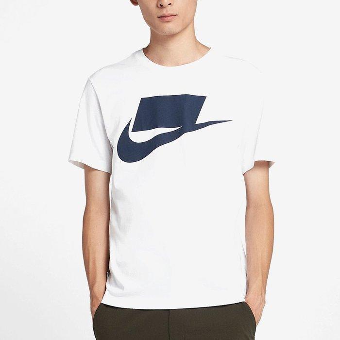 NIKE NSW Tee 白底 深藍大LOGO 短袖T恤 舒適 基本 927393-100【SP】
