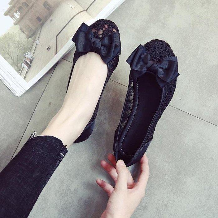 2018春夏季圓頭網紗透氣鏤空黑色工作鞋女平底蕾絲蝴蝶結平跟單鞋
