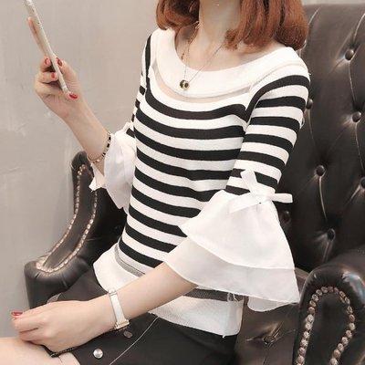 ZIHOPE 短袖上衣 鏤空蕾絲條紋冰絲針織衫T恤女夏流行短款喇叭袖打底衫上衣薄ZI812