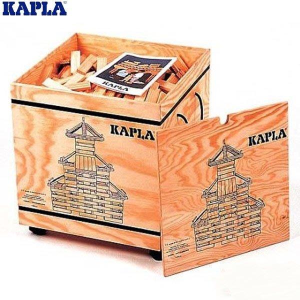 KAPLA 精靈積木-原木積木1000PCS(含附輪木箱)