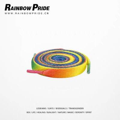 情侶配飾 日韓 RainbowPride 彩虹驕傲彩虹鞋帶 2雙1米2鞋帶LGBT彩虹鞋韓版Blued