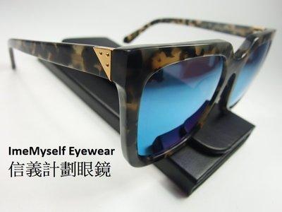【信義計劃眼鏡】全新真品 LASH 手工 太陽眼鏡 wait 水銀鍍膜 方膠框 超越 GM Gentle Monter