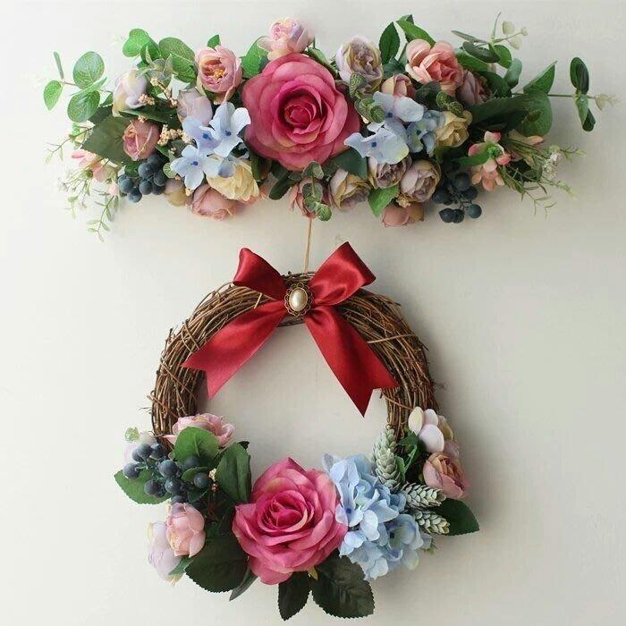粉紅玫瑰精品屋~韓式高檔仿真門楣花環 吊飾~
