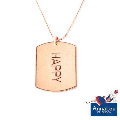 Anna Lou OF LONDON 台北ShopSmart直營店 倫敦品牌 優雅方牌字墜 玫瑰金項鍊 HAPPY 台北市