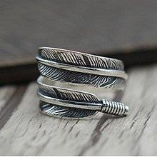 純銀925復古個性羽毛開口指環泰銀高橋印第安風飛鳥情侶款戒指