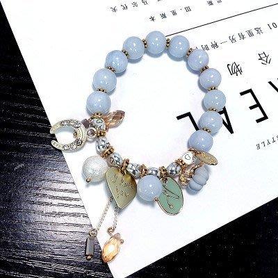 日韓時尚超美清新水晶海藍寶粉晶藍沙芙蓉石設計款單圈手鍊
