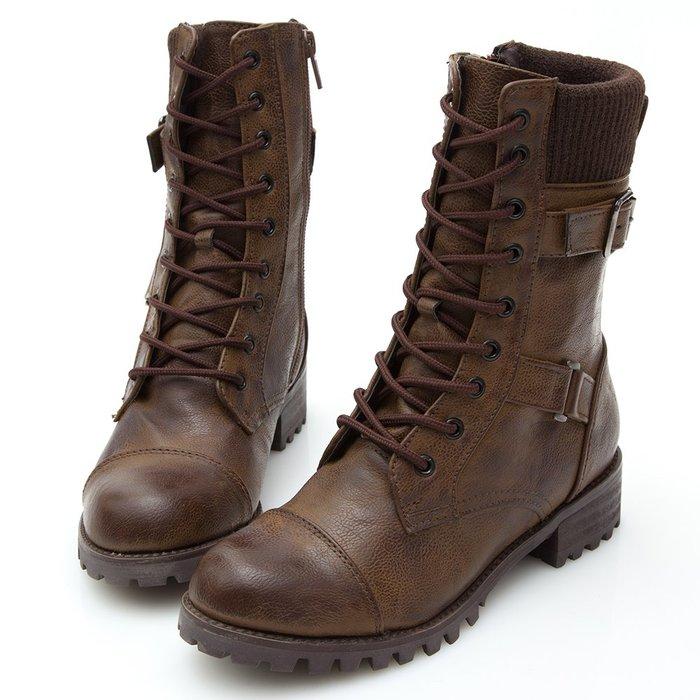 Selly outlet 正韓 拼接毛線綁帶短靴(KR208) 咖啡色37號 NG298