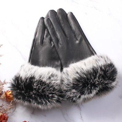 真皮手套羊皮手套-兔毛可愛保暖簡約女手套2色73wf1[獨家進口][米蘭精品]