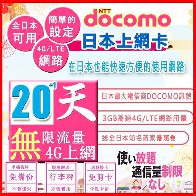 [日本好好玩]20天+1天 日本上網卡 4G 吃到飽 送行李秤 DOCOMO 日本 網卡 SIM卡 WIFI  電話卡