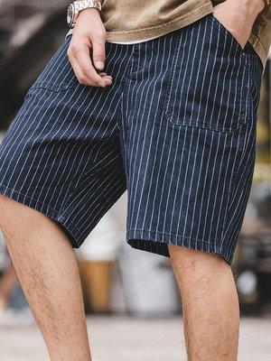 拓荒者革製所。美式復古海軍單寧牛仔色織條紋中褲阿美咔嘰純棉直筒休閒短褲男