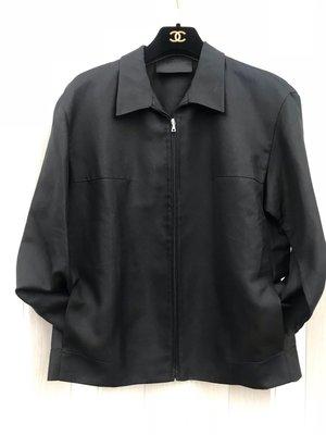 義大利進口二手精品PRADA黑色襯衫拉鏈外套42號(10712266)