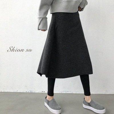享瘦衣身中大尺碼【B2069】假二件式大波浪中長裙拼接內搭褲