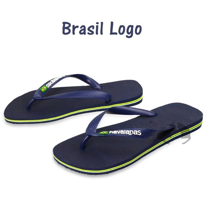 Havaianas brasil logo 巴西國旗logo字樣款~ 男款夾腳拖 深藍色 阿法.伊恩納斯 哈瓦仕