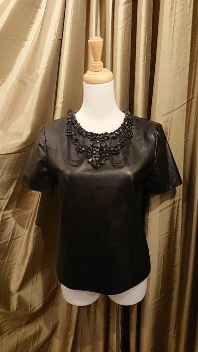 Oscar de la Renta 黑色皮質珠飾領短袖上衣