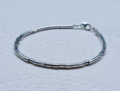 嗨,寶貝銀飾珠寶* 925純銀飾 DIY串珠配件飾品☆時尚細緻 短管珠純銀手鍊☆客製化