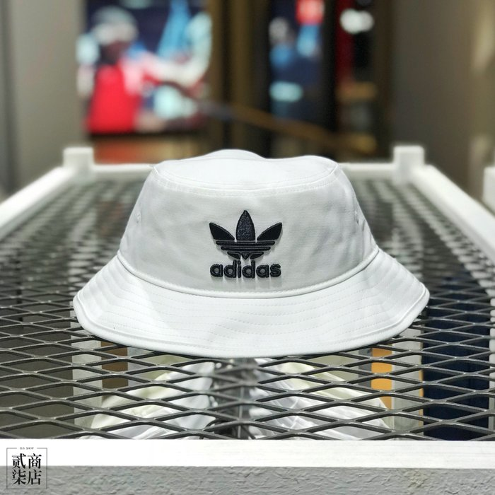 (D.S) adidas originals Bucket Hat 全白 黑 三葉草 漁夫帽 電繡 刺繡 BK7350