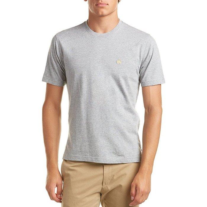美國百分百【Brooks Brothers】布克兄弟 T恤 T-shirt 上衣 短袖 素面 logo 灰色 I391