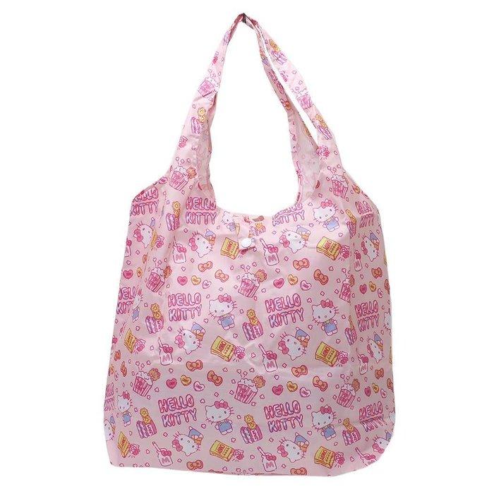 HELLO KITTY環保購物袋 防潑水手提袋 kitty滿版粉紅色 日本正版~彤小皮的遊go世界