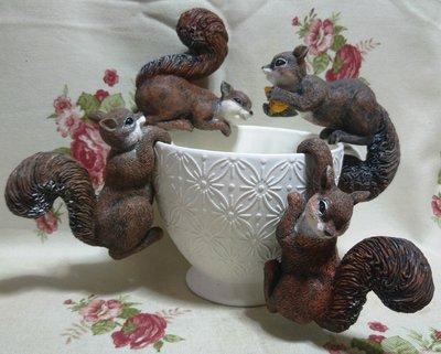 龍廬-自藏出清~手工彩繪冷瓷製品-波麗彩繪仿真小松鼠公仔 盆栽裝飾 4款合售/只有一套