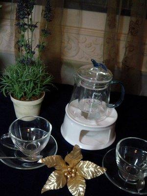 【路卡傢飾~茶藝用品】花茶壺 組 保溫底座   保溫壺、花茶杯 茶壺