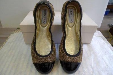 全新 Jimmy Choo    Winnie   Glitter Jersey Ballet Flats   37.5號 現貨 (建議穿大半號)