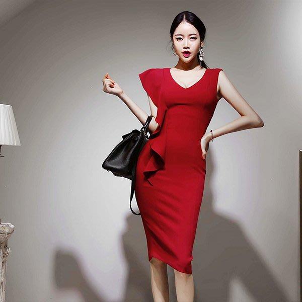 東大門專業代購 正韓國空運 V領側邊荷葉拼接設計無袖禮服洋裝【9AUG-082296568】