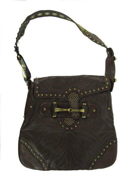 *旺角名店* Gucci 咖啡色壓紋皮革 鉚釘裝飾側背扁包 限量 [09160101]
