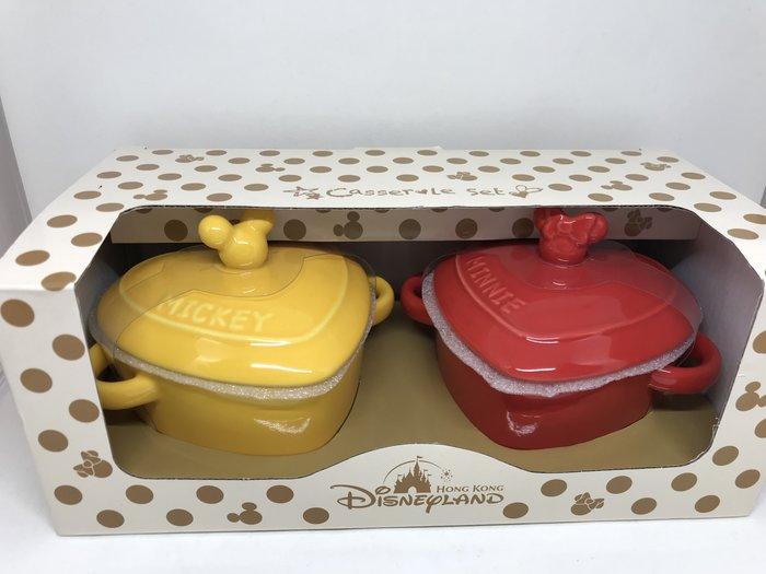 香港迪士尼 米奇米妮 陶瓷 心型有蓋 碗/器具/烘培器具