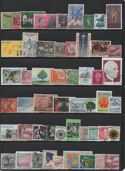 【萬龍】世界各國郵票100枚不重複(圖為範例)