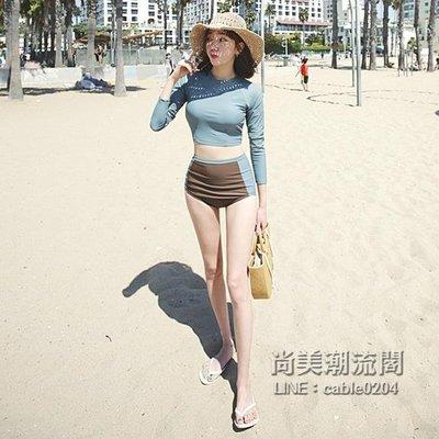 泳衣女保守學生小清新高腰遮肚韓國顯瘦小胸聚攏分體長袖運動泳裝「尚美潮流閣」