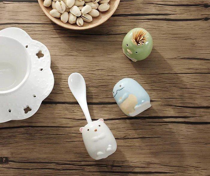 創意家居 可愛卡通陶瓷牙刷架  桌面收納罐   創意牙簽筒  兒童放牙刷架子  來店禮  贈品禮品 入學禮物