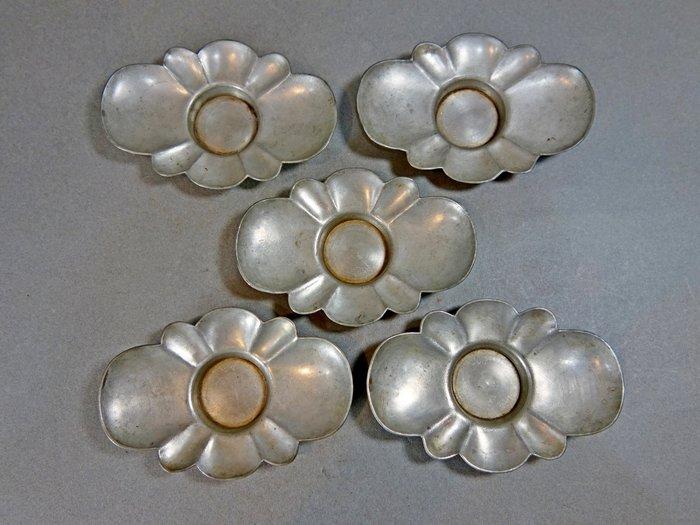 『華寶軒』 日本茶道具 清末時期 錫製 忠信淨錫 茶托杯托 重282g