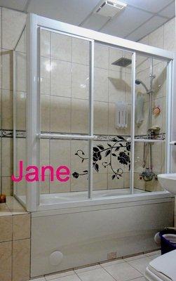 【雅緻專業淋浴拉門1館】免費丈量 台灣製 SG56b浴缸上 L型白框清強化玻璃淋浴門乾濕分離衛浴拉門浴室拉門乾溼分離橫拉