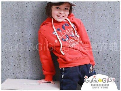 ~RB2012019~ 款~格紋英文USA橘色刷毛連帽上衣 150