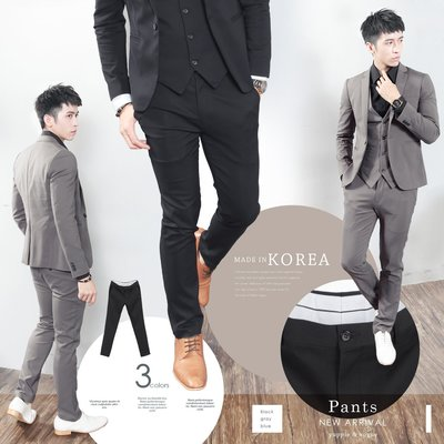 。SW。【K32129】正韓MR 韓國製 修身顯瘦 質感 彈性佳 平滑西裝布 窄版雅痞 藍灰黑 素面西裝褲 西裝褲下標區