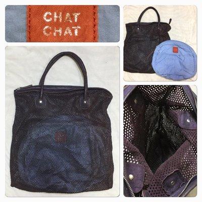 低價起標~ Rabeanco & chat chat 姐妹牌~牛皮手提包 皮革大包 真皮公事包 LV參考 附上內袋