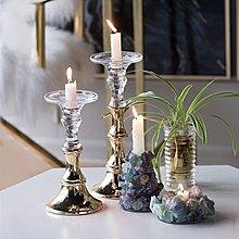 〖洋碼頭〗美國北歐風格玻璃金色燭臺 軟裝宴會家居飾品擺件 shx252