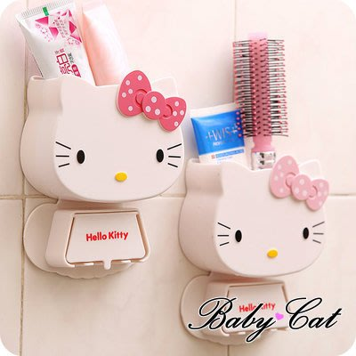 【Baby cat shop】新款 可愛 卡通造型 創意 黏壁 掛牙刷 牙膏 具座 收納盒 居家生活用品 三色