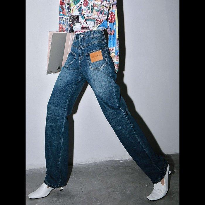 CHIC U 歐美時尚休閒褲獨特設計感直筒牛仔褲女A2919